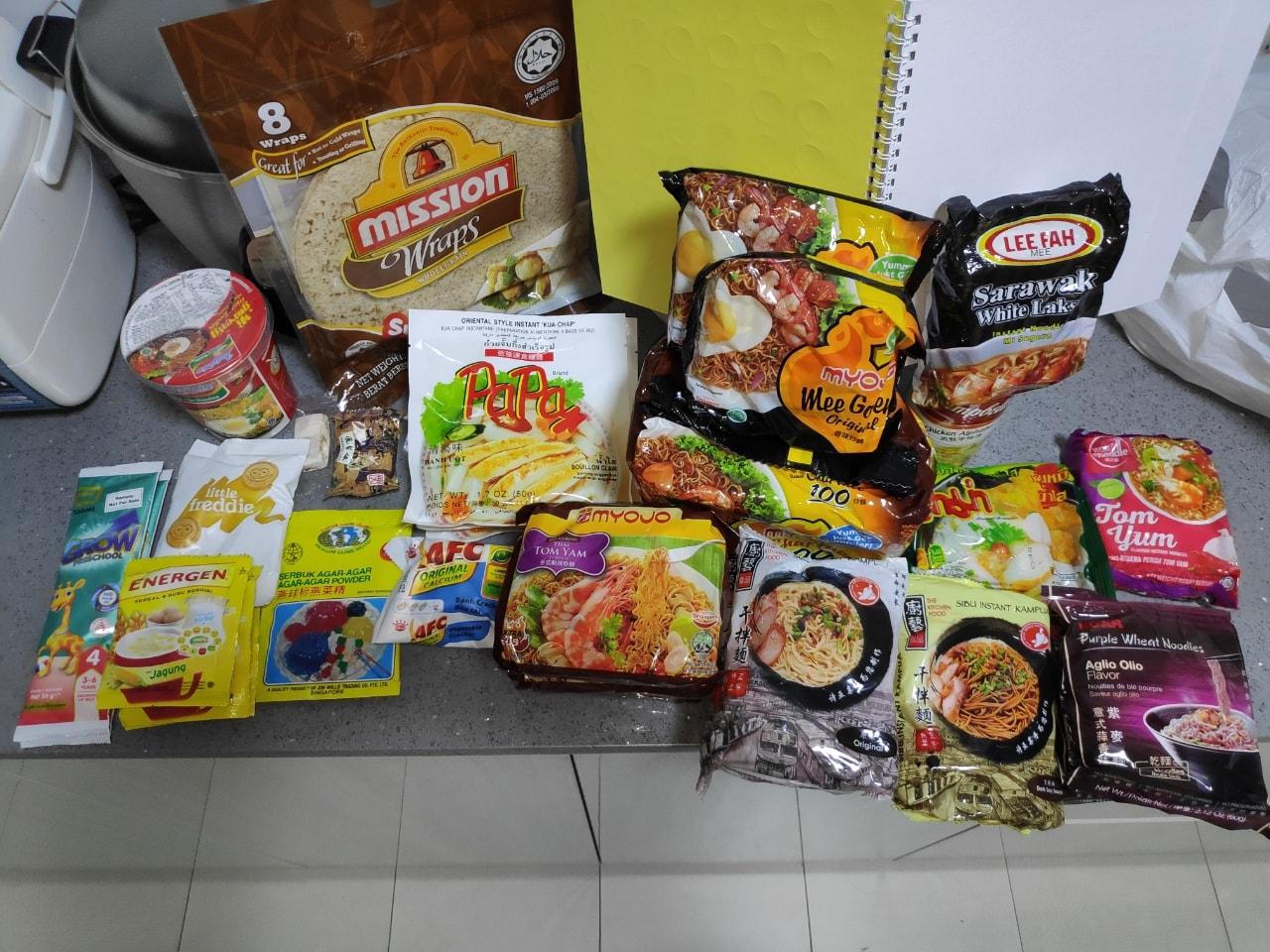 Instant noodles, oats, agar agar powder, wraps