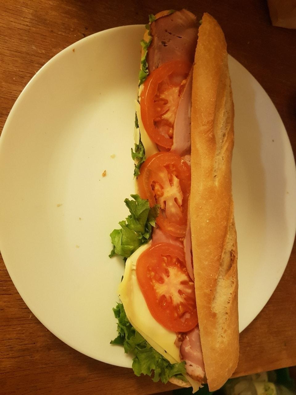 Ham cheese baguette