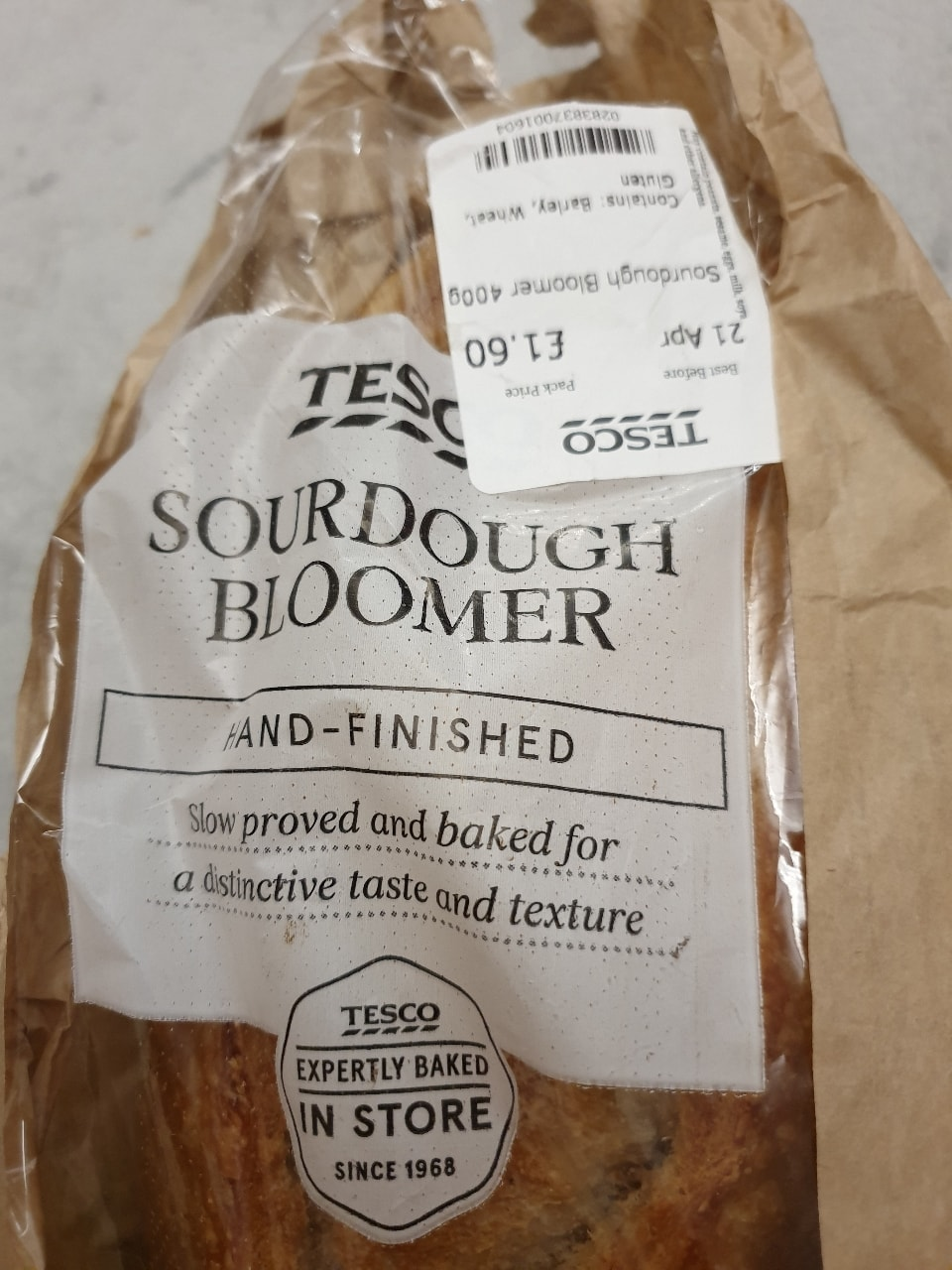 Sour dough bloomer  21 april Donated by Tesco