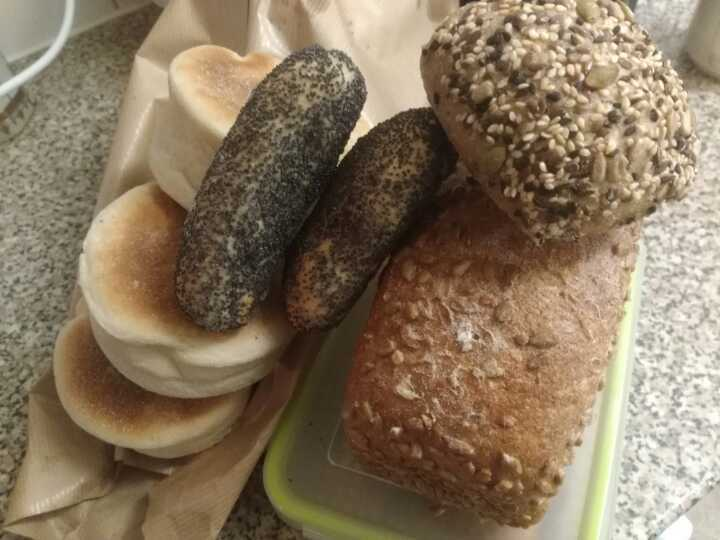 Artisan seeded bread and English muffins