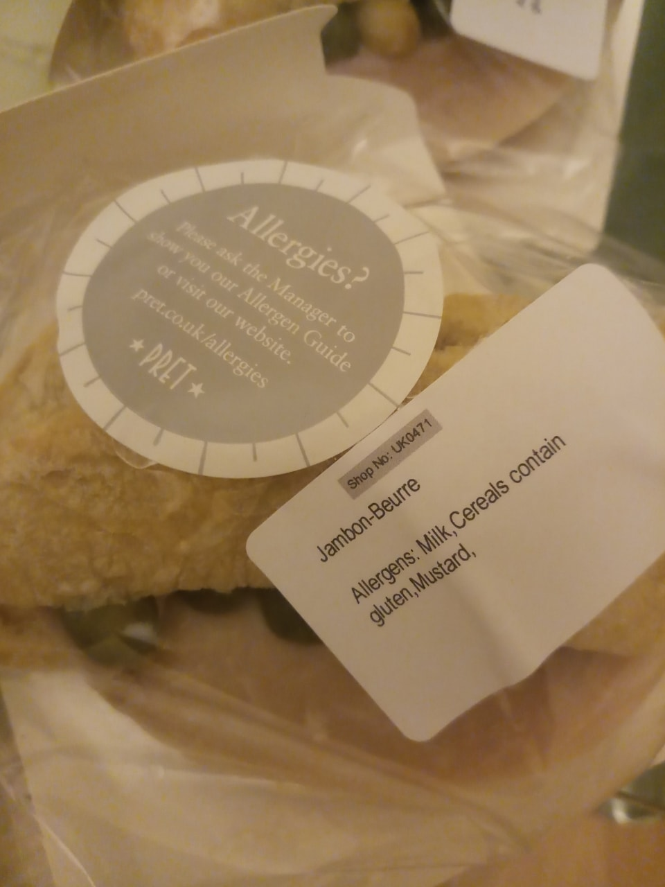 Pret a Manager- 3 Jambon- Beurre Flat bread