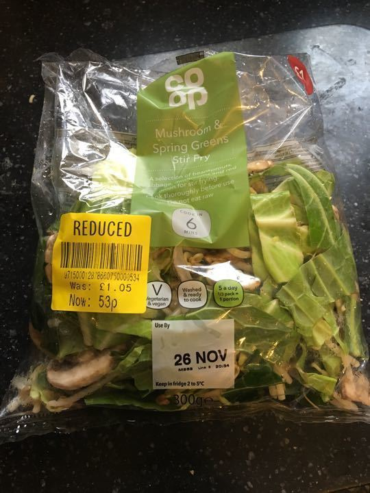 Mushroom and spring green stir fry