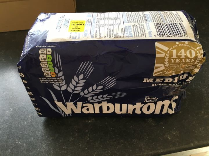 Warburtons medium (Top open and resealed)