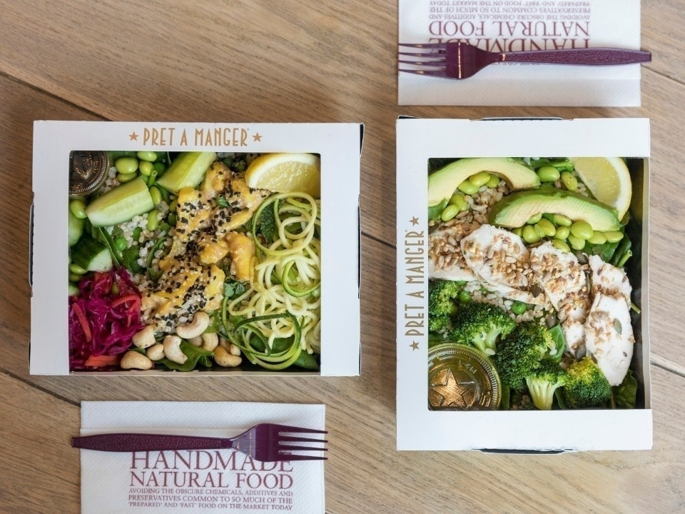 veggie salads and fish salad from Pret, Friday night pickup