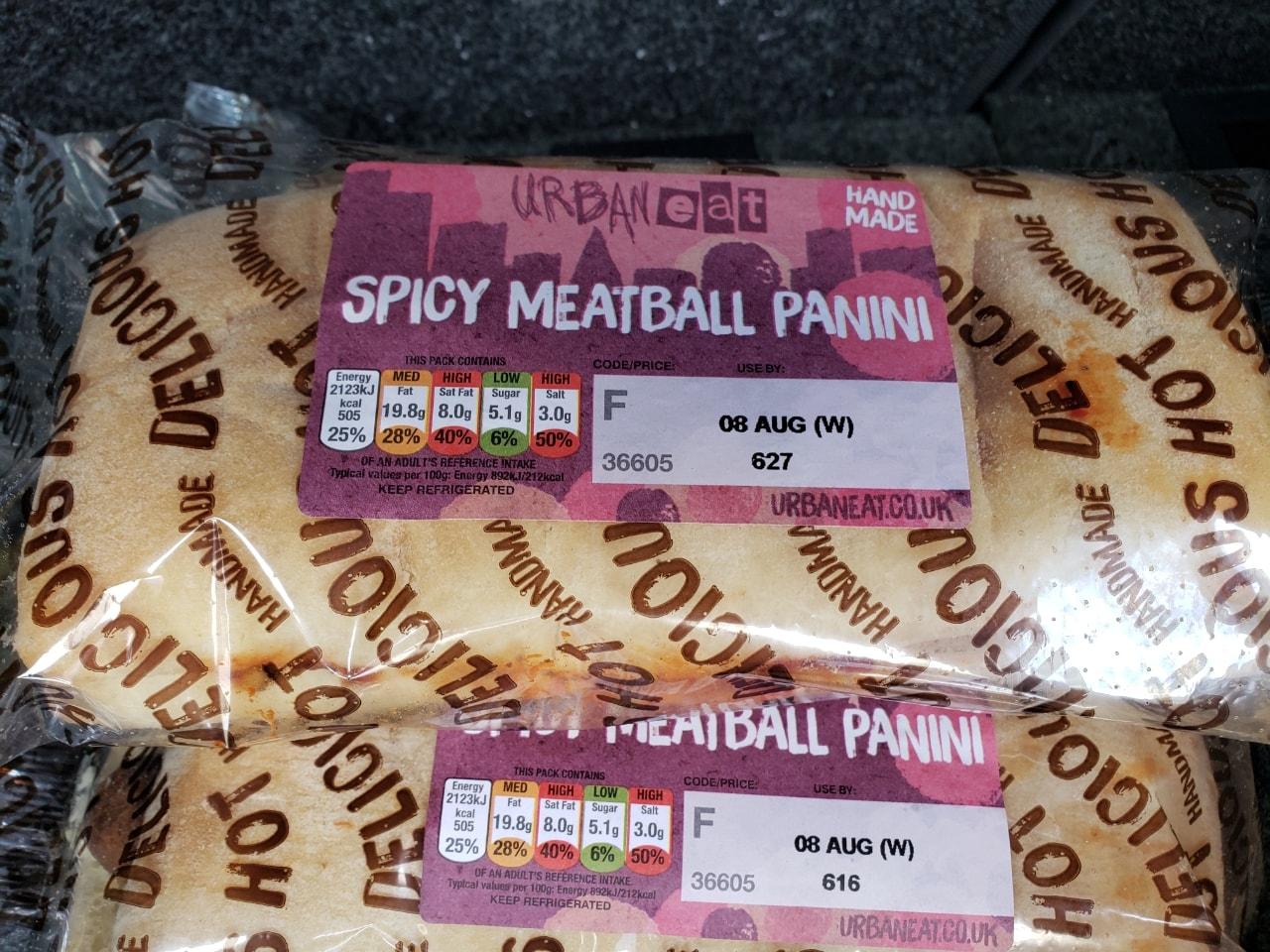 Spicy meatball panini