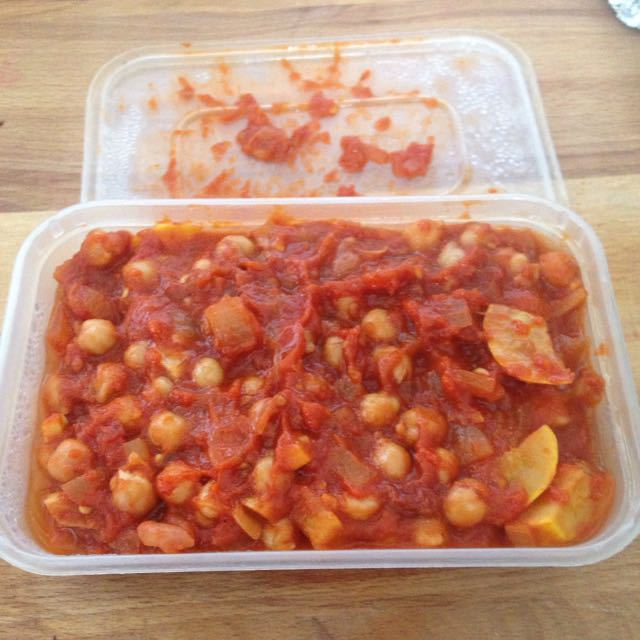 Homemade chick peas with yellow courgette and organic tomatoes
