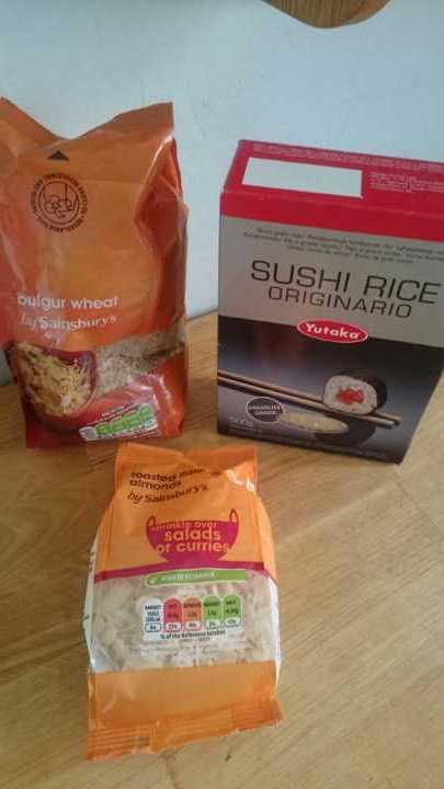 Bulgar wheat, sushi rice, almonds