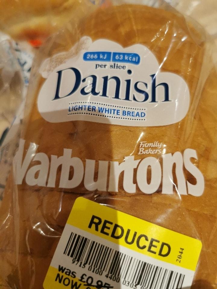 Warburtons Danish lighter white bread