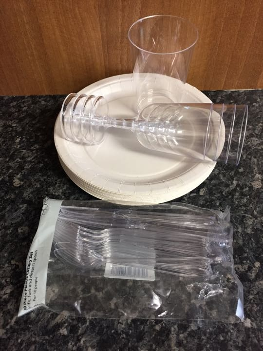 Paper Plates and Plastic Cutlery/Cups