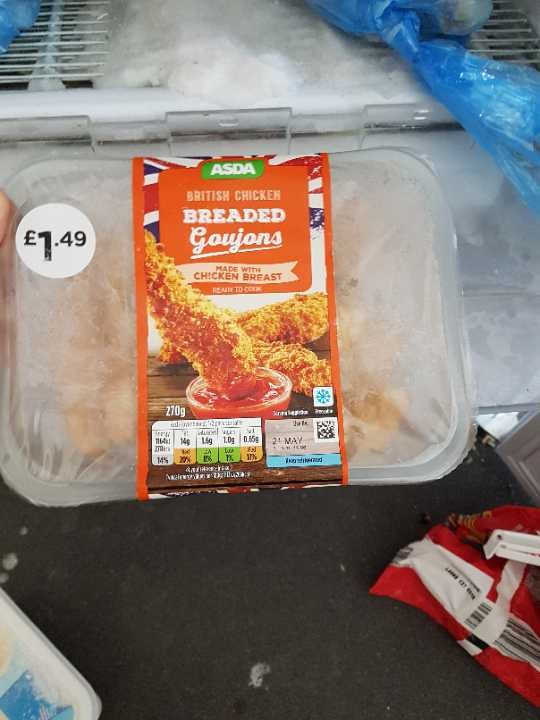 Frozen chicken goujons