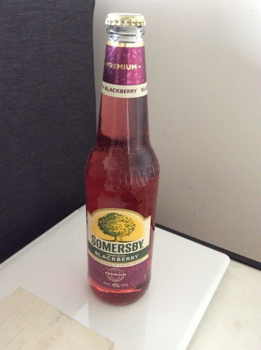 4 bottles of Somersby cider, blackberry flavour, left over from party