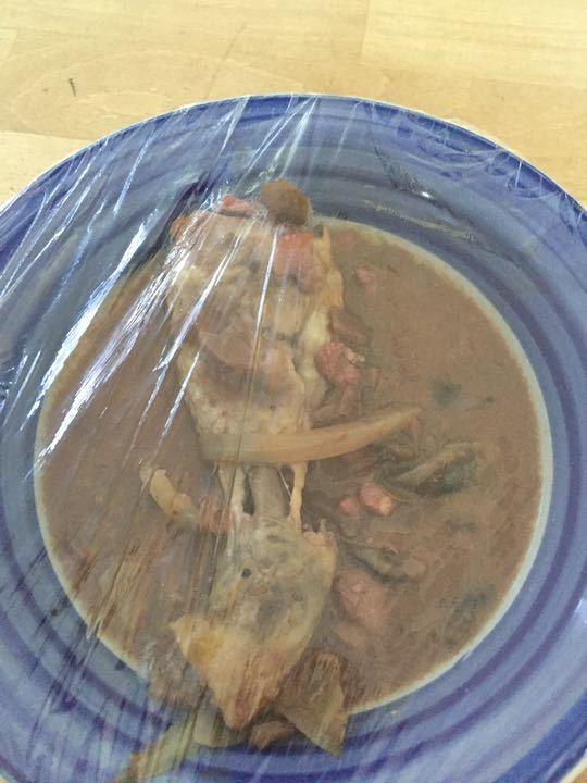 Leftover coq au vin drumstick