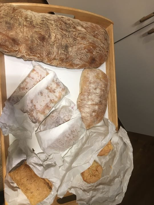 Artisan bread, sandwiche (meat), sausage roll (vegan) and almond friands