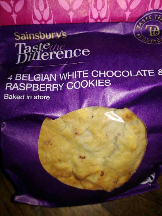 Belgium white choc and raspberry cookies
