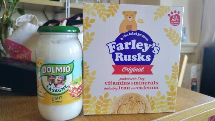 Farley's rusks and Dolmio sauce for Lasagne light and cheesy.