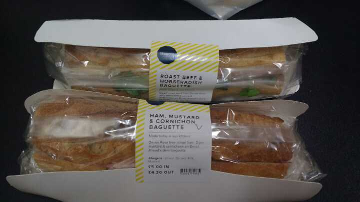 Ham mustard and roast beef  baguettes