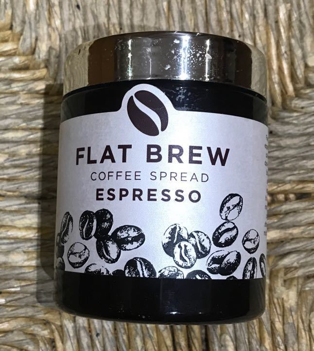 Flat brew espresso spread. 1 spoonful taken.