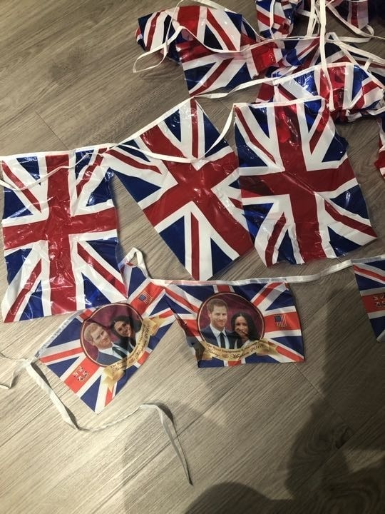 Union Jack and Harry and Meghan bunting