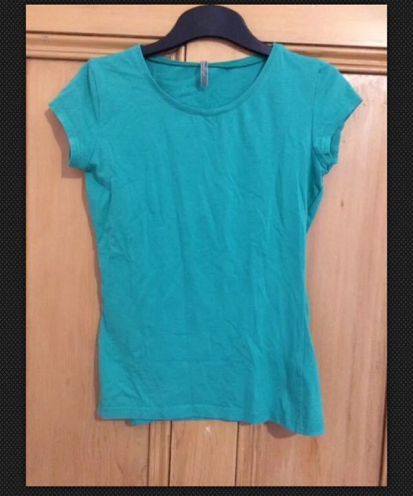 Top Shop fitted Green T-Shirt, Size 10
