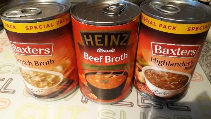 3x tins of broth