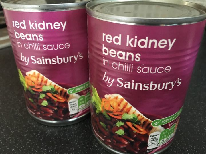 2 cans of red kidney beans from Sainsbury