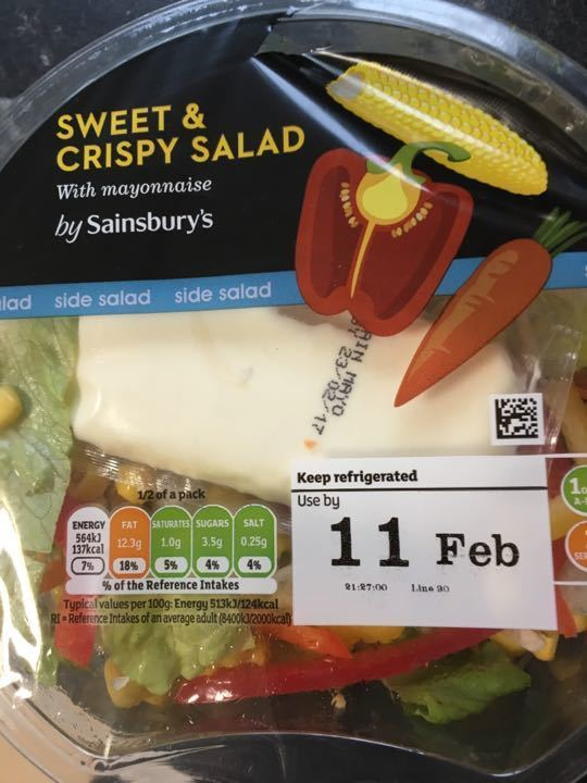 Salad refrigerated (packaging resealed)