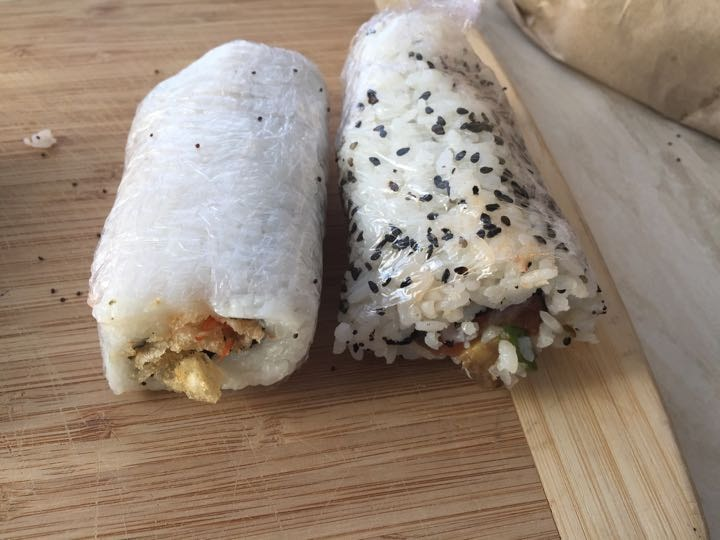 Prawn and salmon half sushi rolls