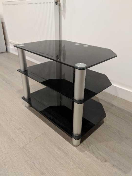 Black Glass TV stand unit 3 shelves free