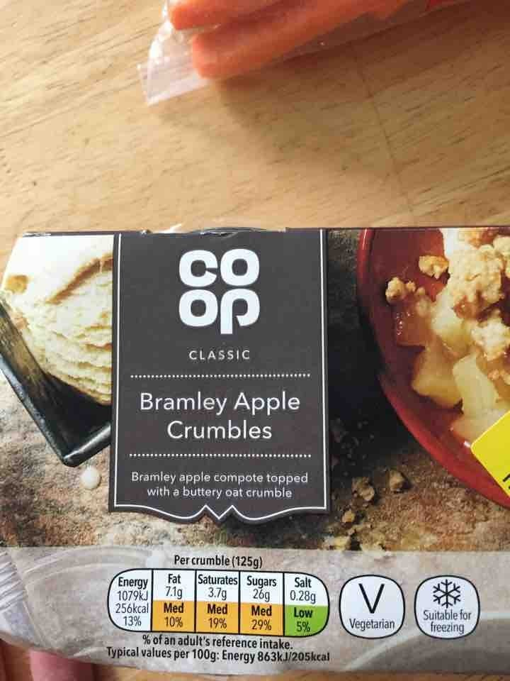 Brantley apple crumbles pick up by 10:00 please