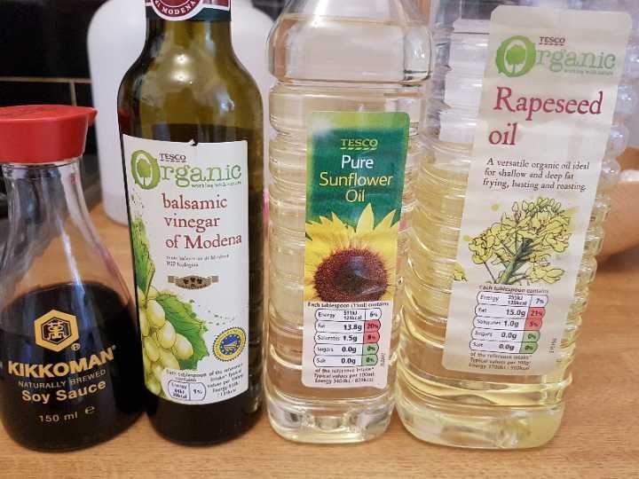 Oil, vinegar, soy sauce