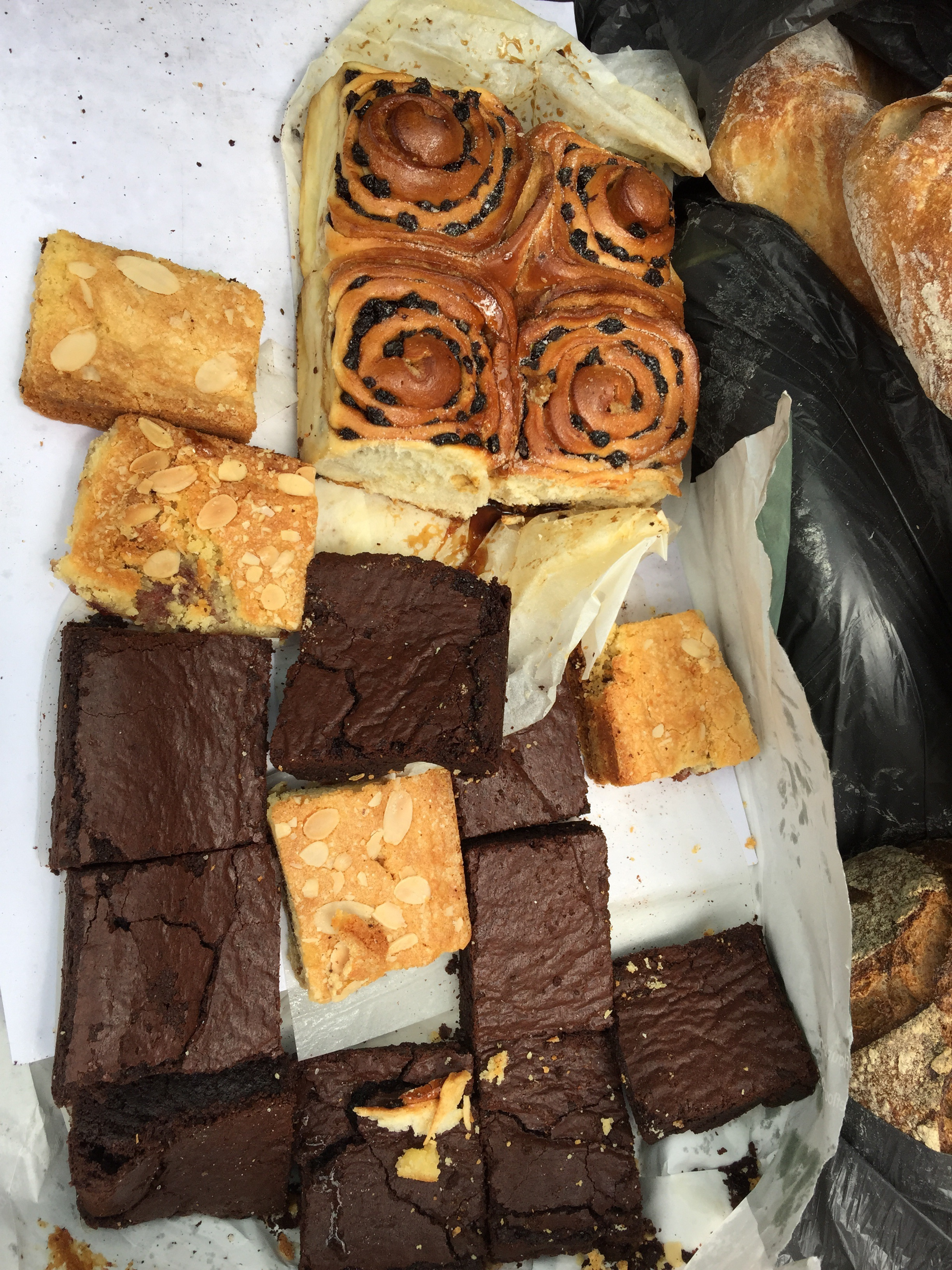 Fresh scones, chocolate brownies, and other tasty treats