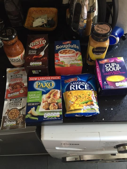 Selection of unopened sauces/ light meals/ etc
