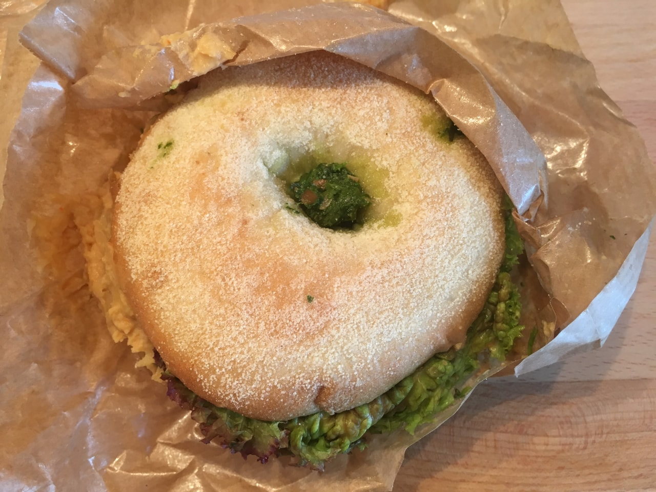 Vegan bagel (hummus, pesto) from Fotografiska (23/10)