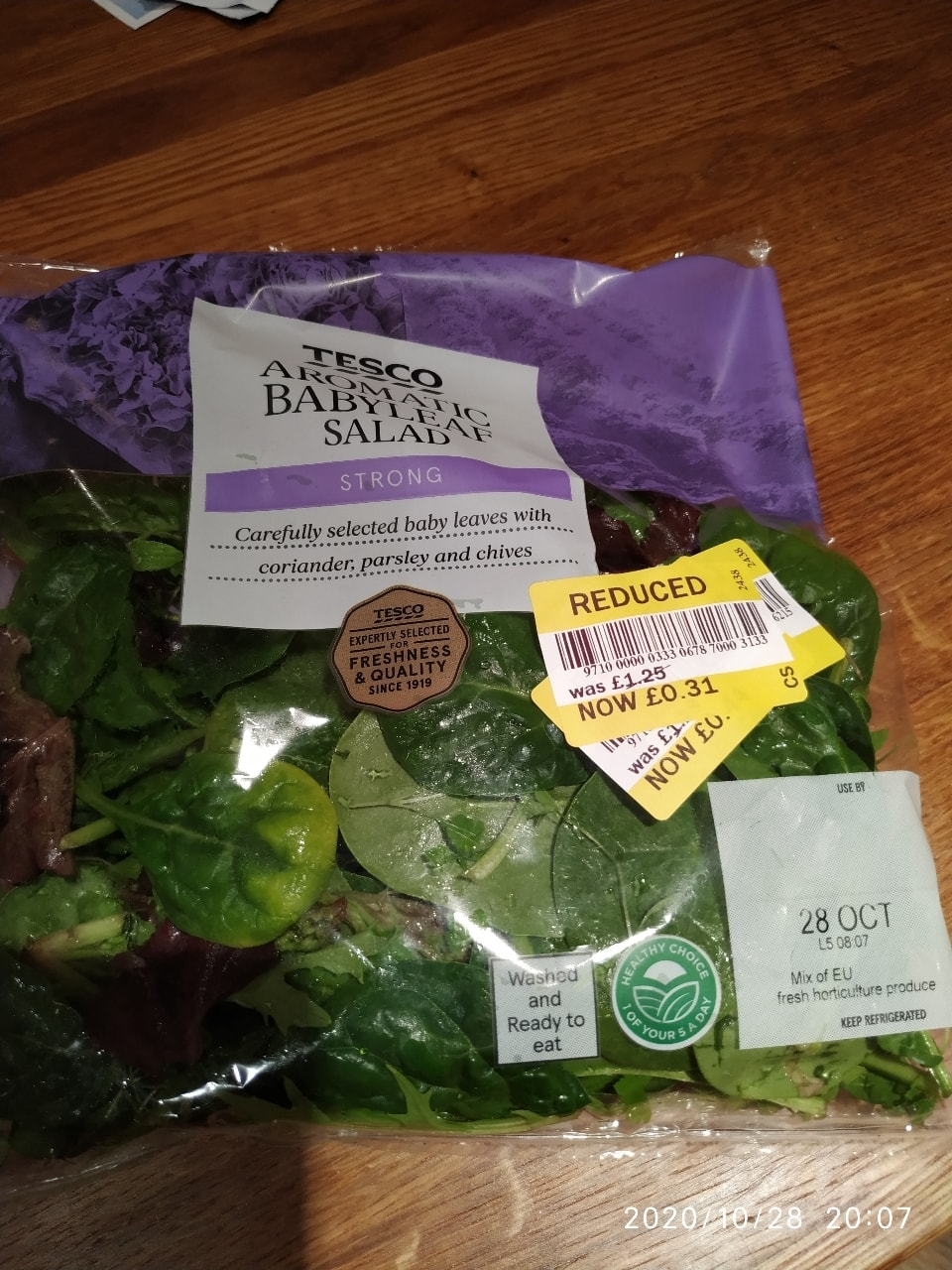 Tesco aromatic baby leaf salad