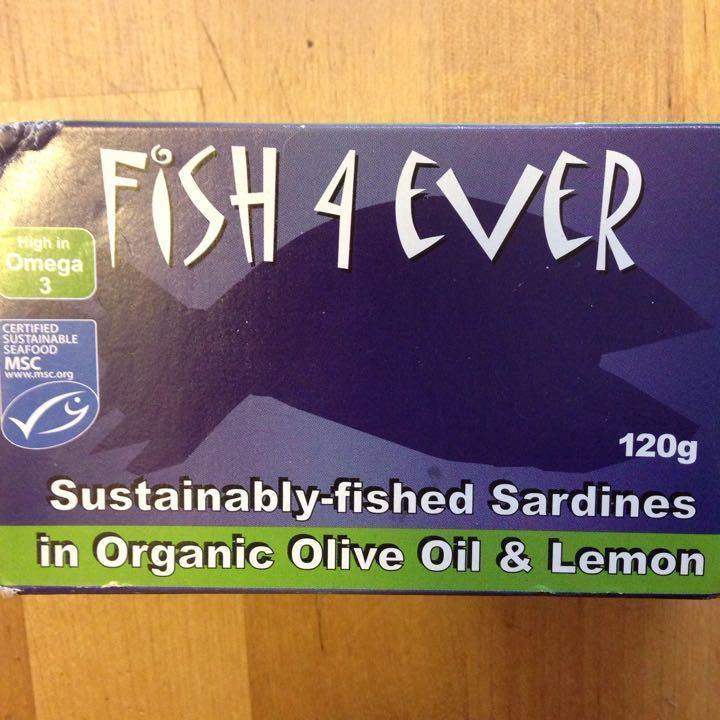Sardines in organic olive oil and lemon.