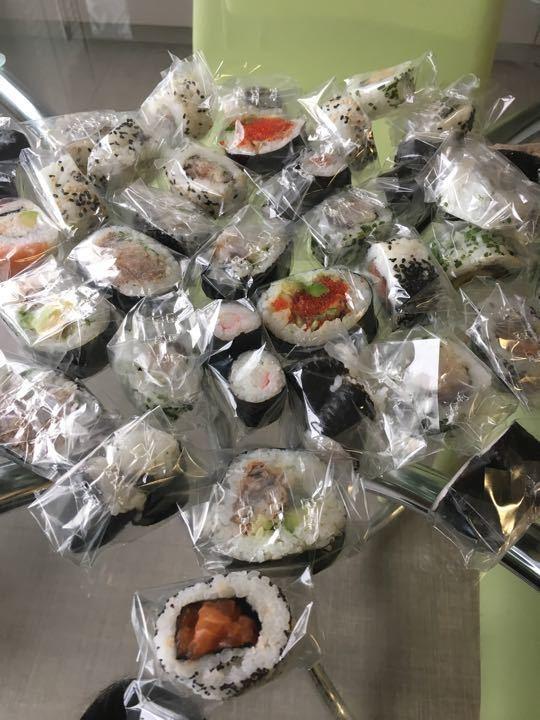 Mixture of sushi rolls