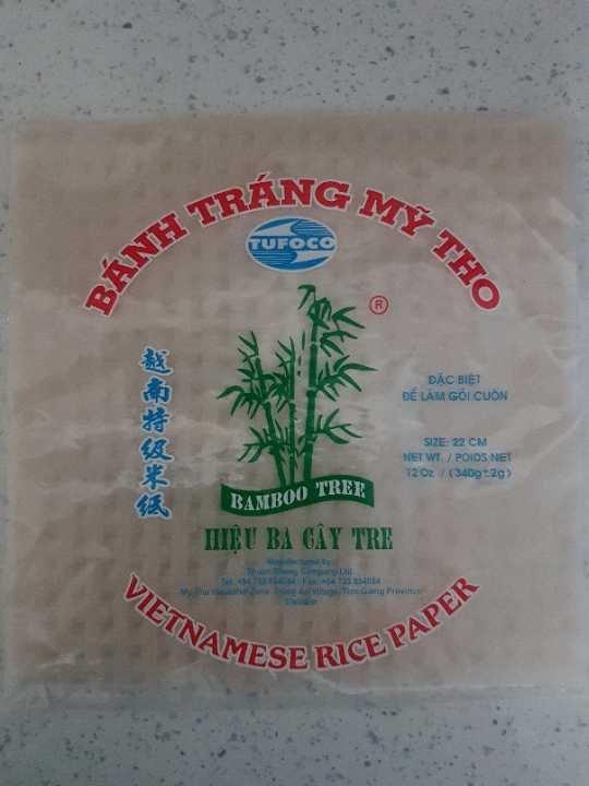 Open bag of rice paper