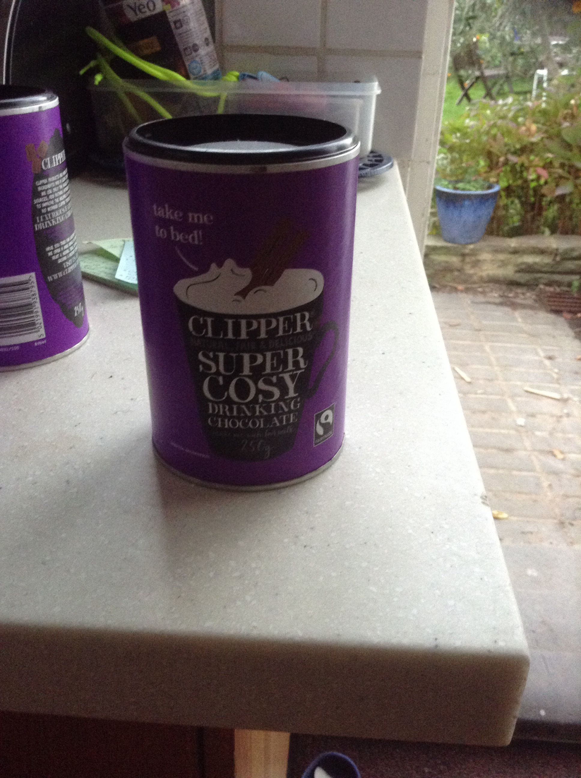 250g tubs of clipper fair trade drinking chocolate