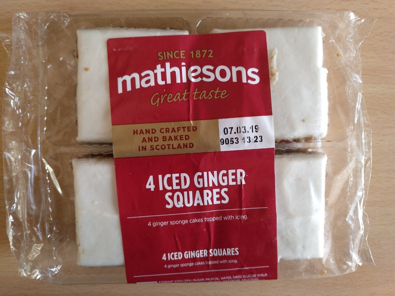 Iced ginger squares