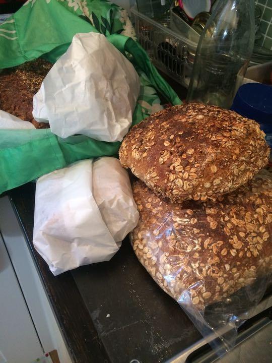 Assorted bread, sausage rolls etc