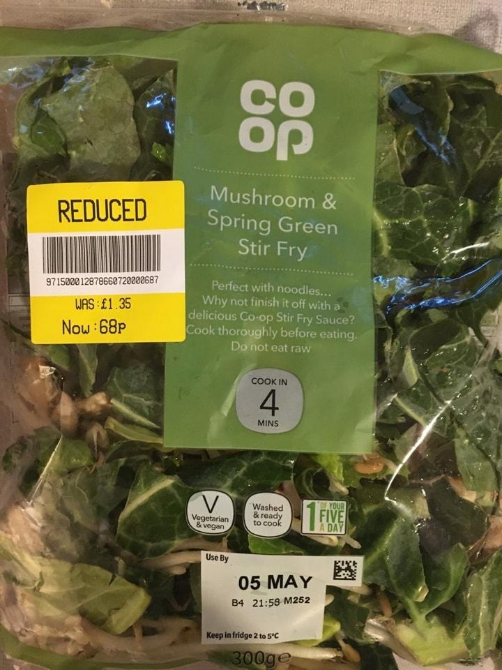 Mushroom & spring green stir fry MUST BE COLLECTED TONIGHT