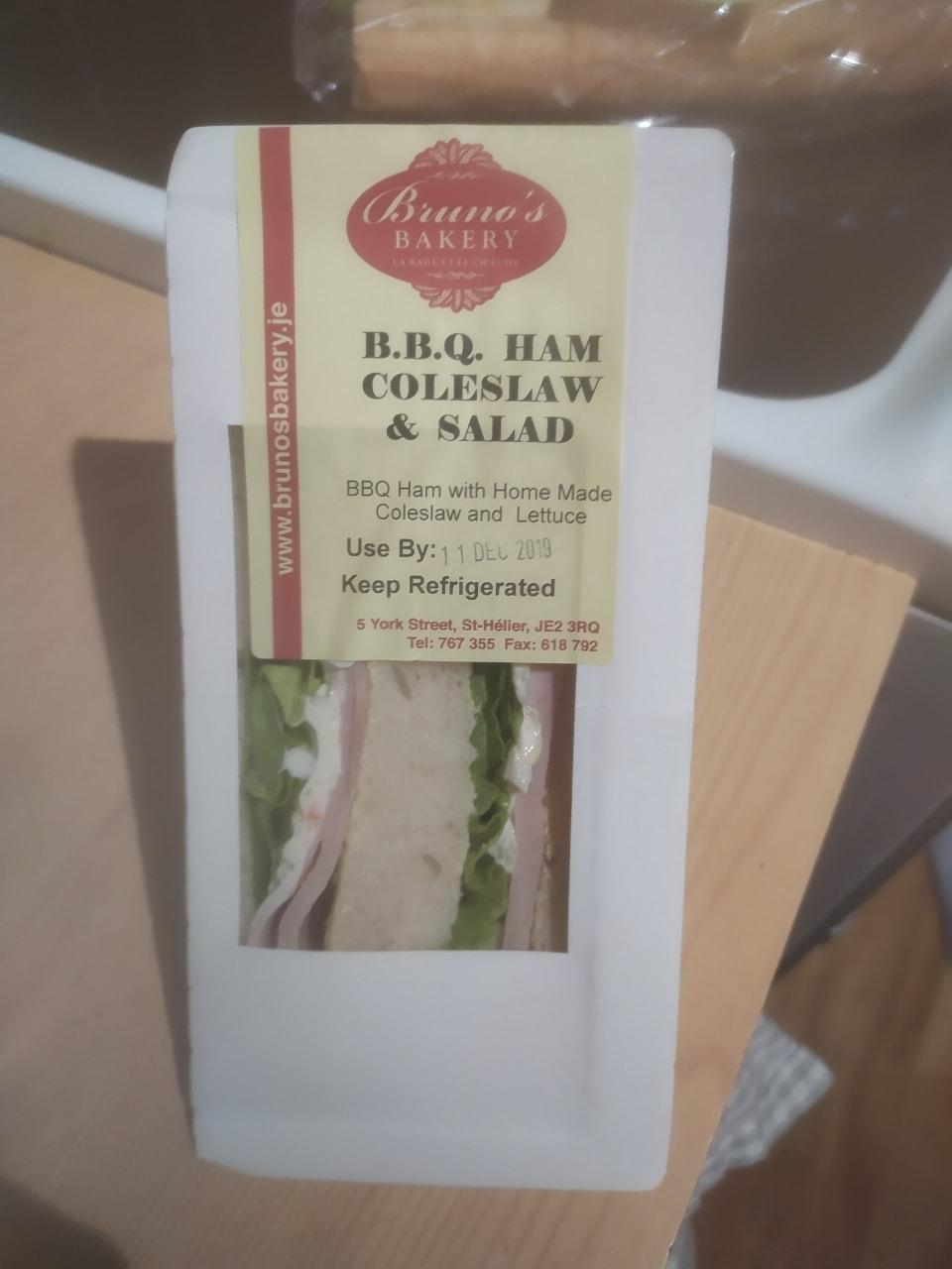 BBQ ham, coleslaw and salad sandwich