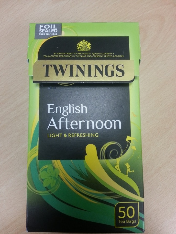 Twinings English Afternoon black tea (about half empty)