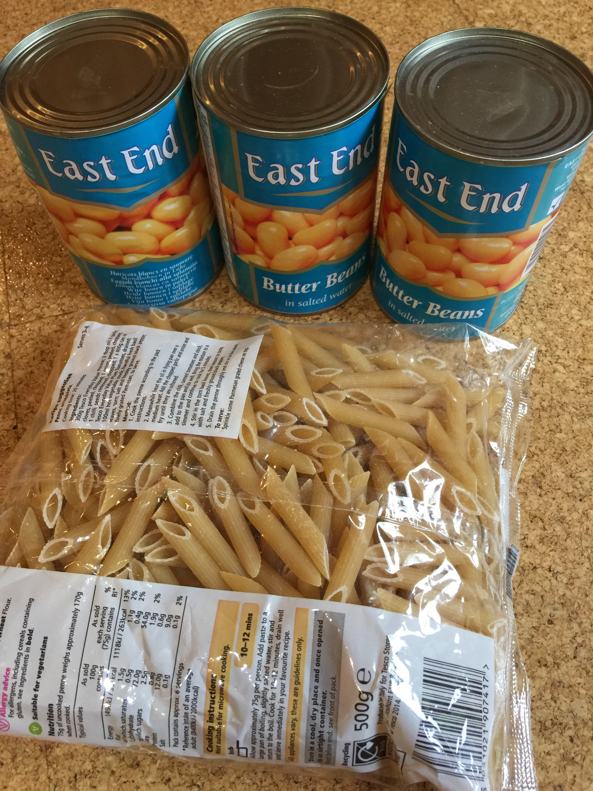 Penne and three cans of butter beans