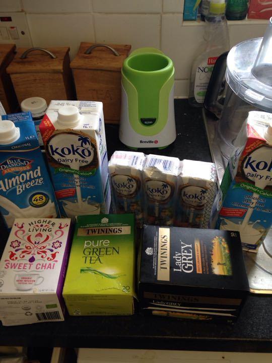 Coconut/ almond milks and herbal teas