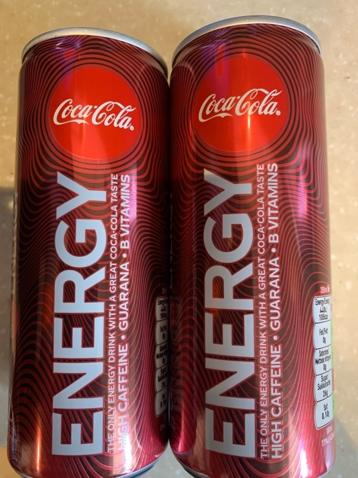 2 cans 250ml of coke energy drinks