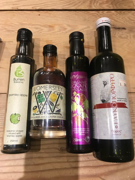 Vinegars and grape syrup