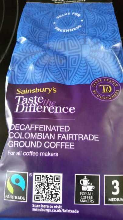 Decaffeinated Colombian fair trade ground coffee.