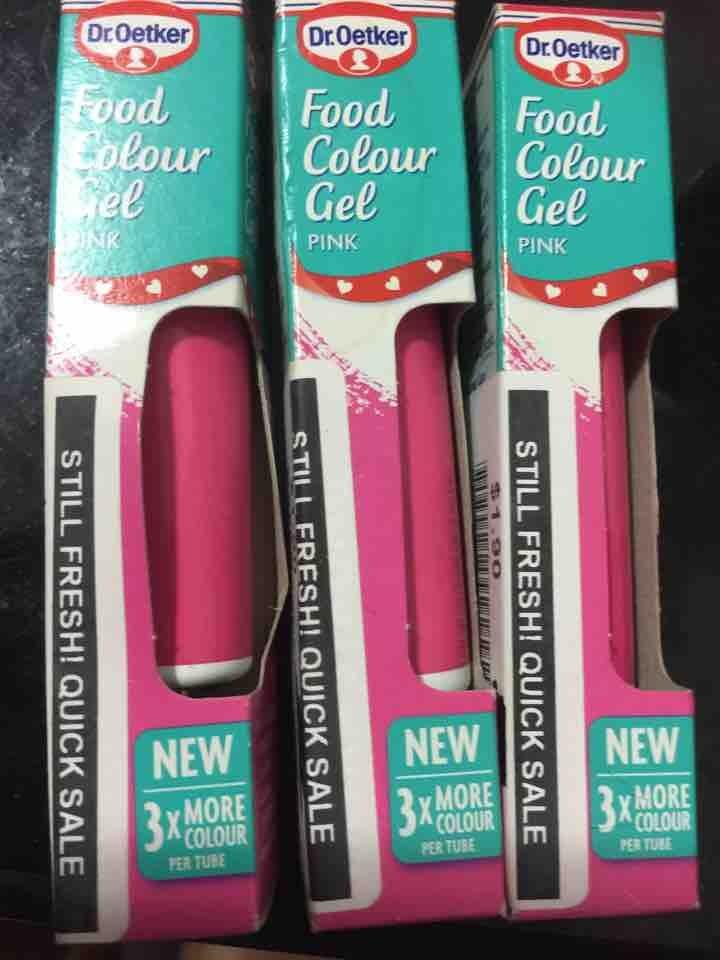 Pink food colour gel x 3