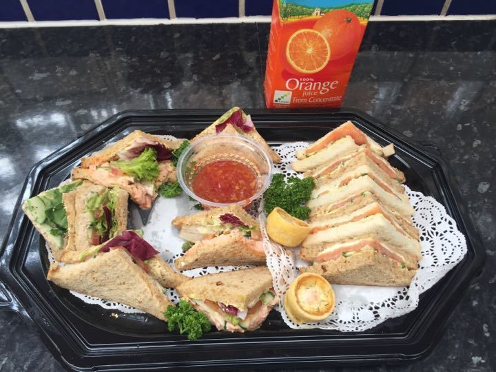 Sandwiches and orange juice